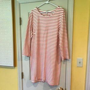 J.Crew Orange/Cream Long Sleeve Knit Dress